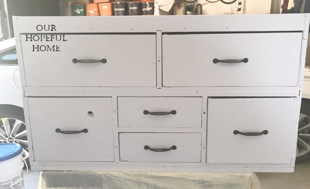 vinatge distressed painted seed cabinet