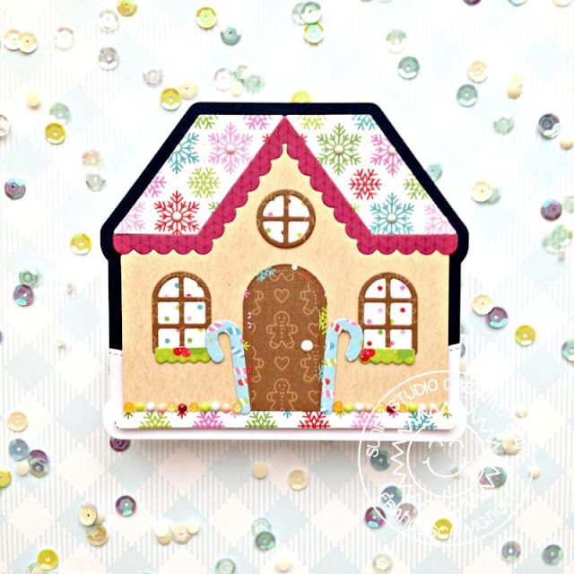 Sunny Studio Stamps: Gingerbread House Dies Woodland Borders Christmas House Shaped Card by Franci Vignoli