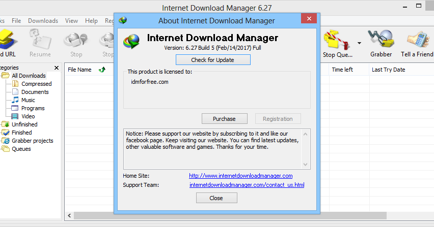 FREE IDM REGISTRATION: Internet Download Manager 6.27 Build 5 Full Patch (IDM) + Crack