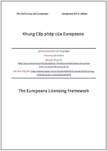 'Khung cấp phép của Europeana' - bản dịch sang tiếng Việt