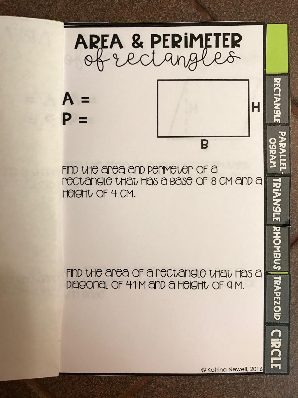 mrs  newell u0026 39 s math  editable area and perimeter foldable
