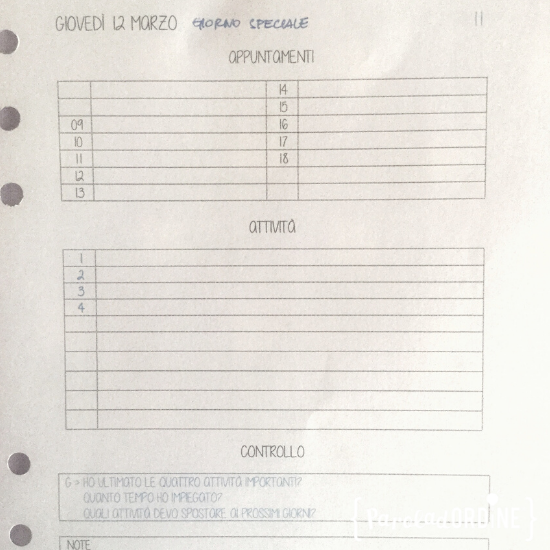 Paroladordine tempo professional organizer agenda giorno
