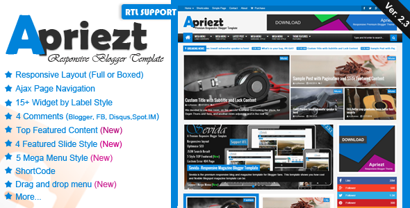 Apriezt V2.3 - Responsive Magazine/News Blogger Template free download