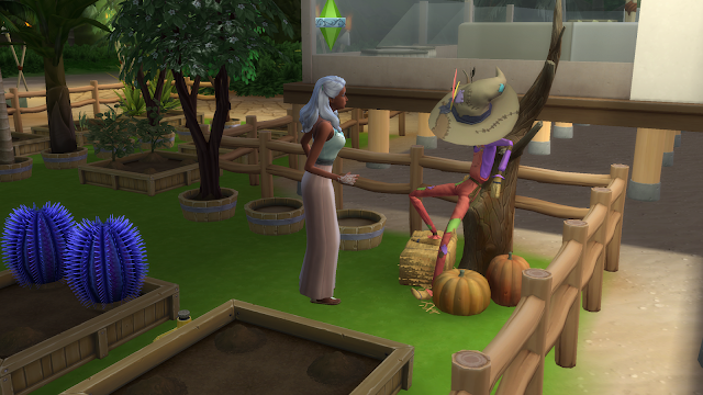 Screen grab of a sim talking to patchy in sims 4