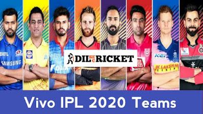 Vivo IPL 2020 : All 8 Teams full details