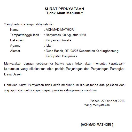 Contoh Surat Pernyataan Tidak Akan Menuntut
