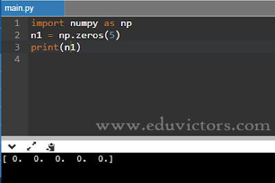eduvictors.com: the zeros( ) creates an array (1D) of 5 elements filled with zero float values.