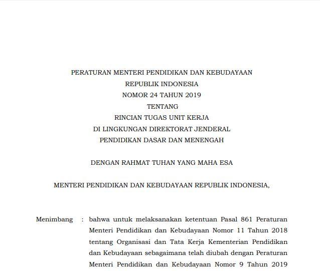 Permendikbud Nomor 24 Tahun 2019 tentang Rincian Tugas Unit Kerja di Lingkungan Dirjen Dikdasmen