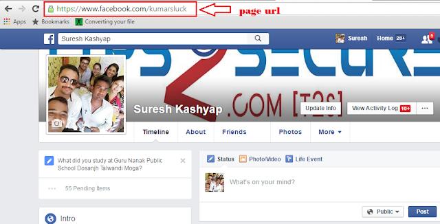 get URL of facebook page