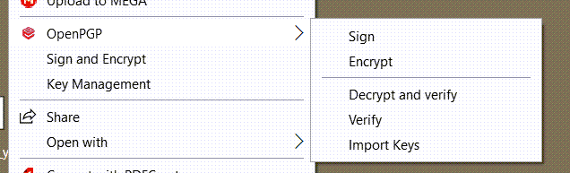 Screen image of Encryptomatic OpenPGP Windows context menu.