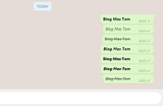 Membuat Tulisan Cetak Tebal Miring Coret Tengah di Whatsapp