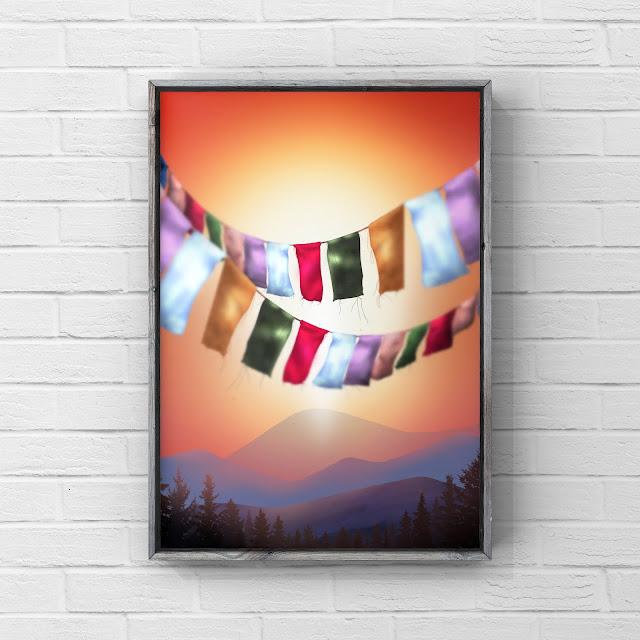 Prayer flags, mountains, snow, artwork