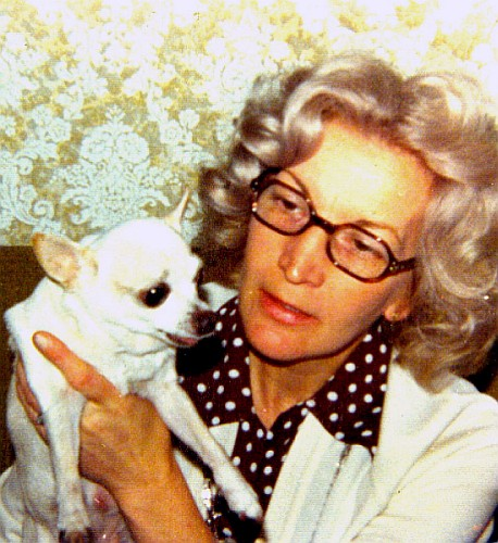 My aunt in her younger years, with her beloved pet, Bambi.