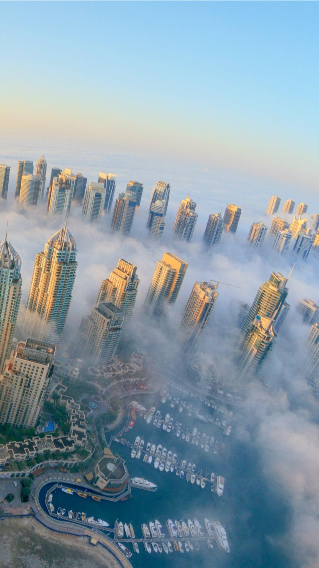 dubai city fog skyscrapers mobile wallpaper