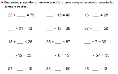 Resultado de imagen para numero perdido en sumas y restas