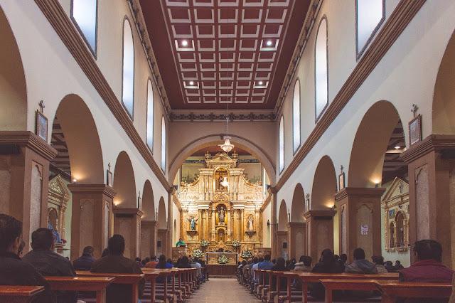 Catholic St Francisco Church interior golden altar worship service Loja Ecuador