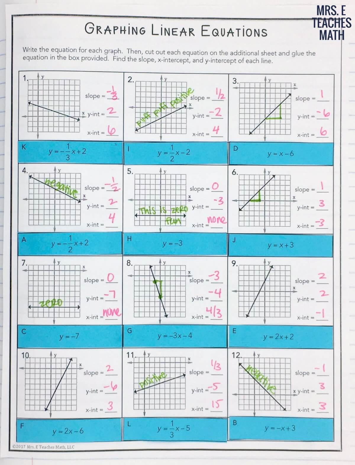 Slope intercept form of a line inb pages mrs e teaches math graphing linear equations cut and paste review worksheet falaconquin