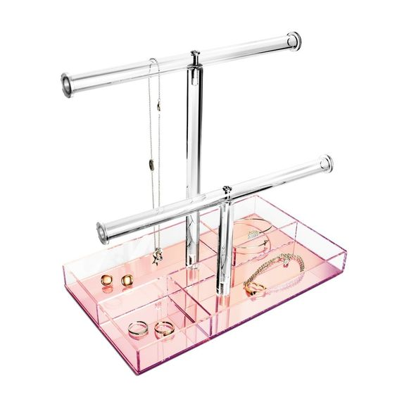 #JWY1335-PK 2 Tier Acrylic Rose Gold Mirrored Base with Storage Compartments