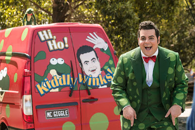 Josh Gad is the goofy host of a popular kid's show in LITTLE MONSTERS.