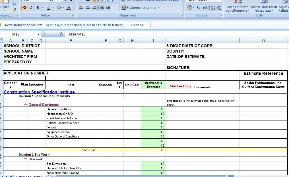 construction cost estimate template excel civil