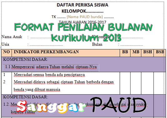 CONTOH FORMAT PENILAIAN BULANAN TK Kurikulum 2013