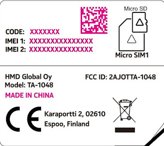 Nokia TA-1048 Device Label Information