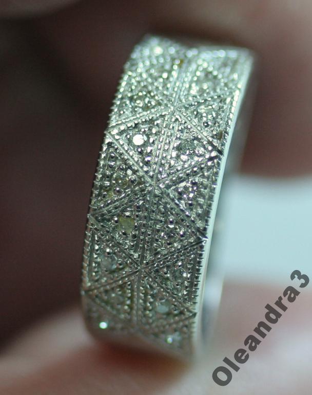 stary złoty pierścionek obrączka z brylantami białe złoto retro vintage