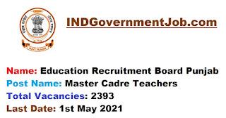 Education Recruitment Board Punjab Recruitment - 2393 Master Cadre Teachers - Last Date: 1st May 2021