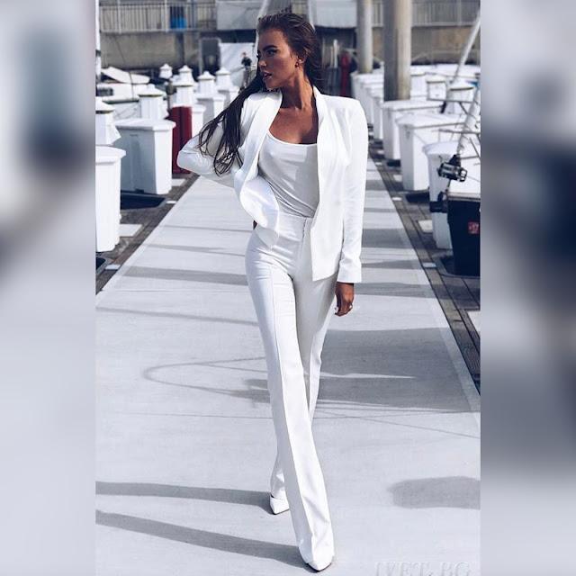 Γυναικείο άσπρο παντελόνι MOLENA WHITE