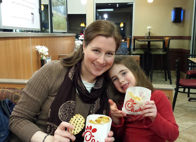 Eating supper at Chick-fil-A!