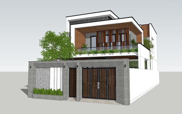 Model 3d biệt thự phố 2 tầng hiện đại mới nhất 2021