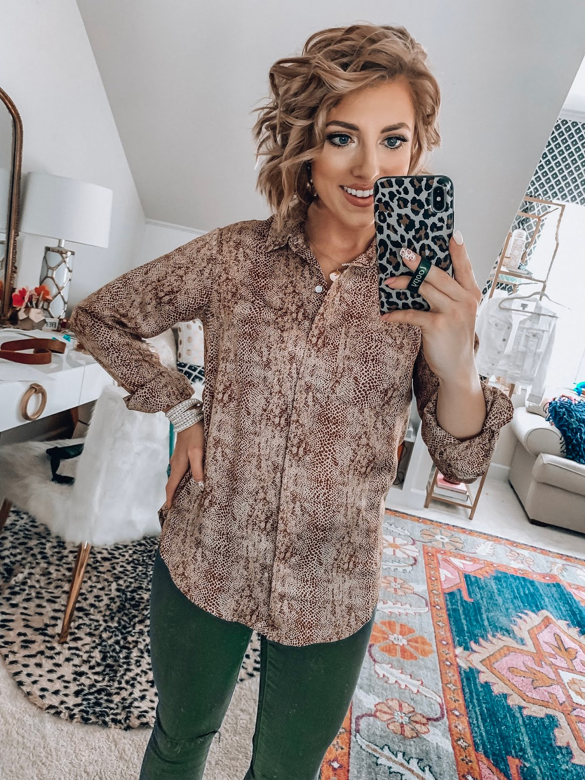 Target Fall Finds: Part One - Under $20 Snake Button Up Shirt, $20 Olive Green Jeggings - Something Delightful Blog