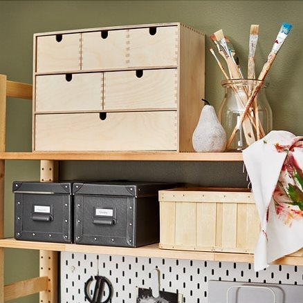 Ikea Moppe Drawers on shelfs with craft supplies