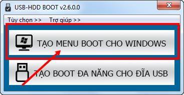 Xóa menu boot USB-HDD BOOT v2.6.0.0