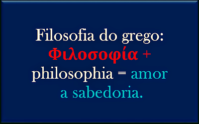 A imagem traz a definição de Filosofia:amor a sabedoria.
