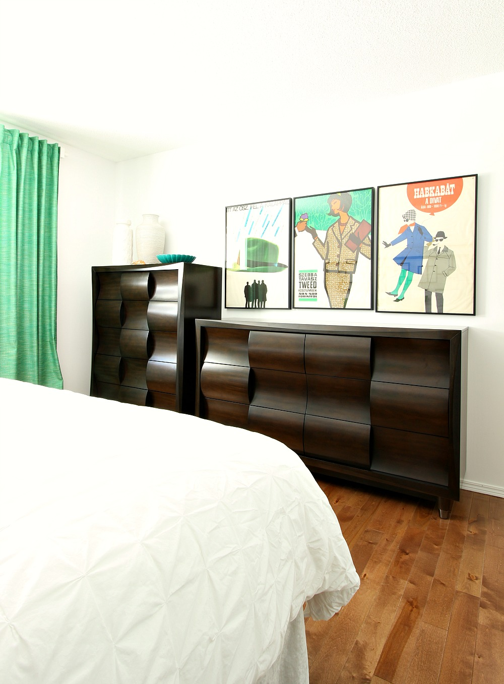 Mid-Century Modern Inspired Bedroom Furniture with Mid-Century Modern Poster Art
