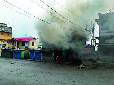 Gorkhaland supporter torch fire on NBSTC office kalimpong