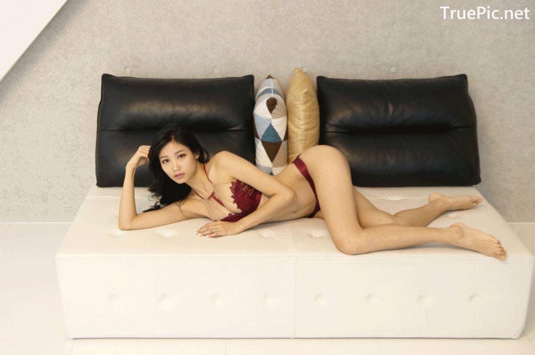 Image Korean Fashion Model - Lee Hee Eun - Baghdad Caffeine Burgundy Lingerie - TruePic.net - Picture-7