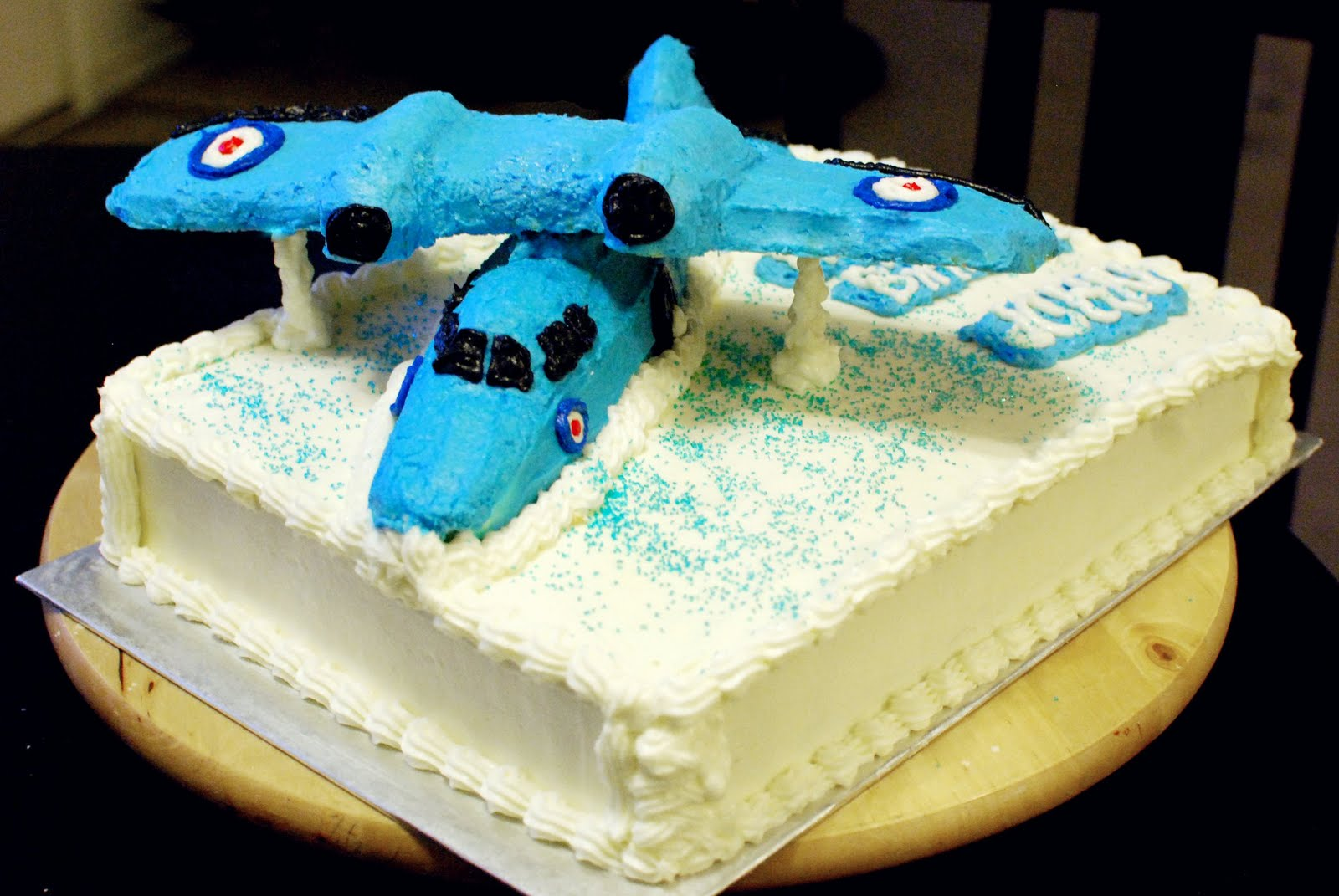 An Airplane Themed Birthday Cake Was Ordered By Nikki For Her Dads 90th It Little Sweets Three Ds First Attempt On Making A 3
