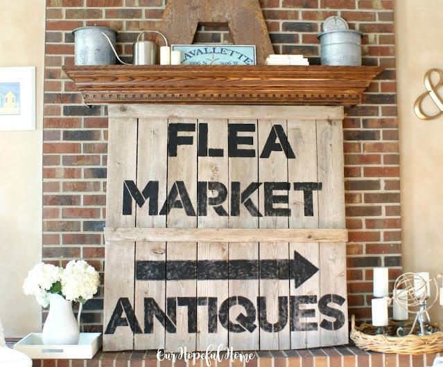 flea market antiques DIY sign fireplace mantel