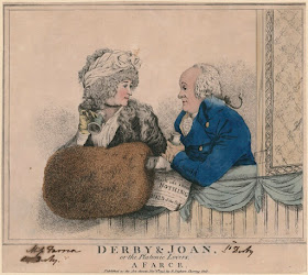 'Derby & Joan or the platonic lovers, a farce' (Elizabeth, Countess of Derby;  Edward Smith Stanley, 12th Earl of Derby) by and published by Robert Dighton  hand-coloured etching, published 6 November 1795  7 7/8 in. x 8 7/8 in. (199 mm x 226 mm) paper size  Purchased with help from the Friends of the National Libraries   and the Pilgrim Trust, 1966 Reference Collection © NPG D9306