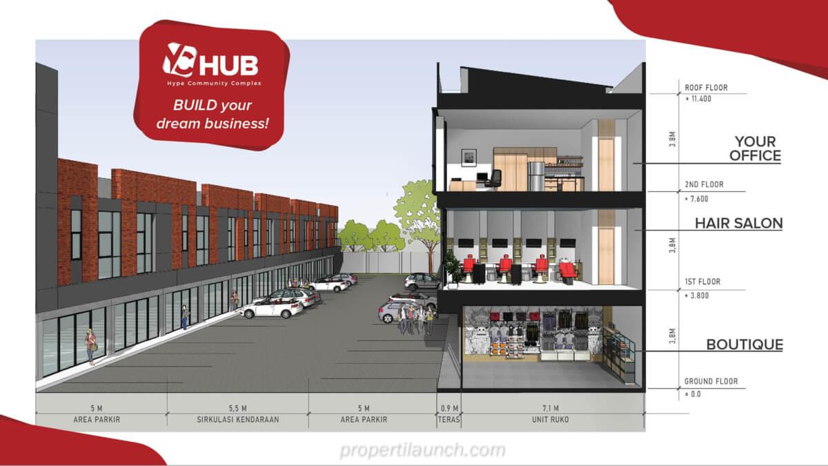 Ilustrasi usaha ruko YC Hub 3 lantai