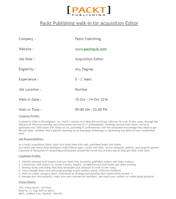 Packt Publishing walk-in