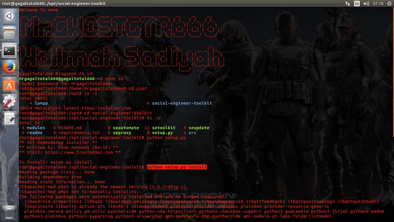 How to open social engineering toolkit in ubuntu