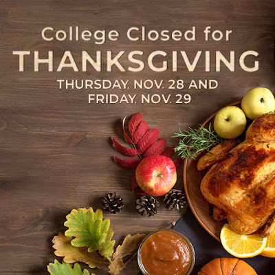 "Graphic shows a thanksgiving meal with the text ""college closed for thanksgiving"""