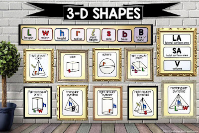 3-D Shapes math word wall
