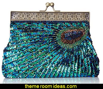 Beaded Sequin Peacock Clutch