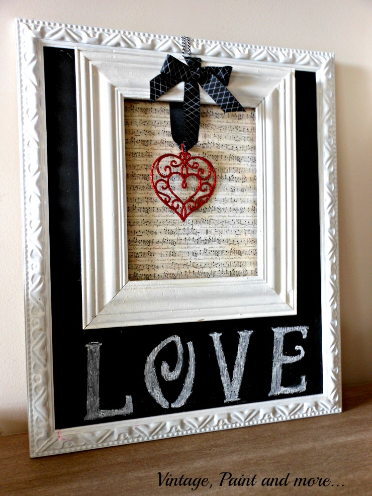 DIY chalkboard, Valentine from old frame and sheet music, vintage Valentine vignette