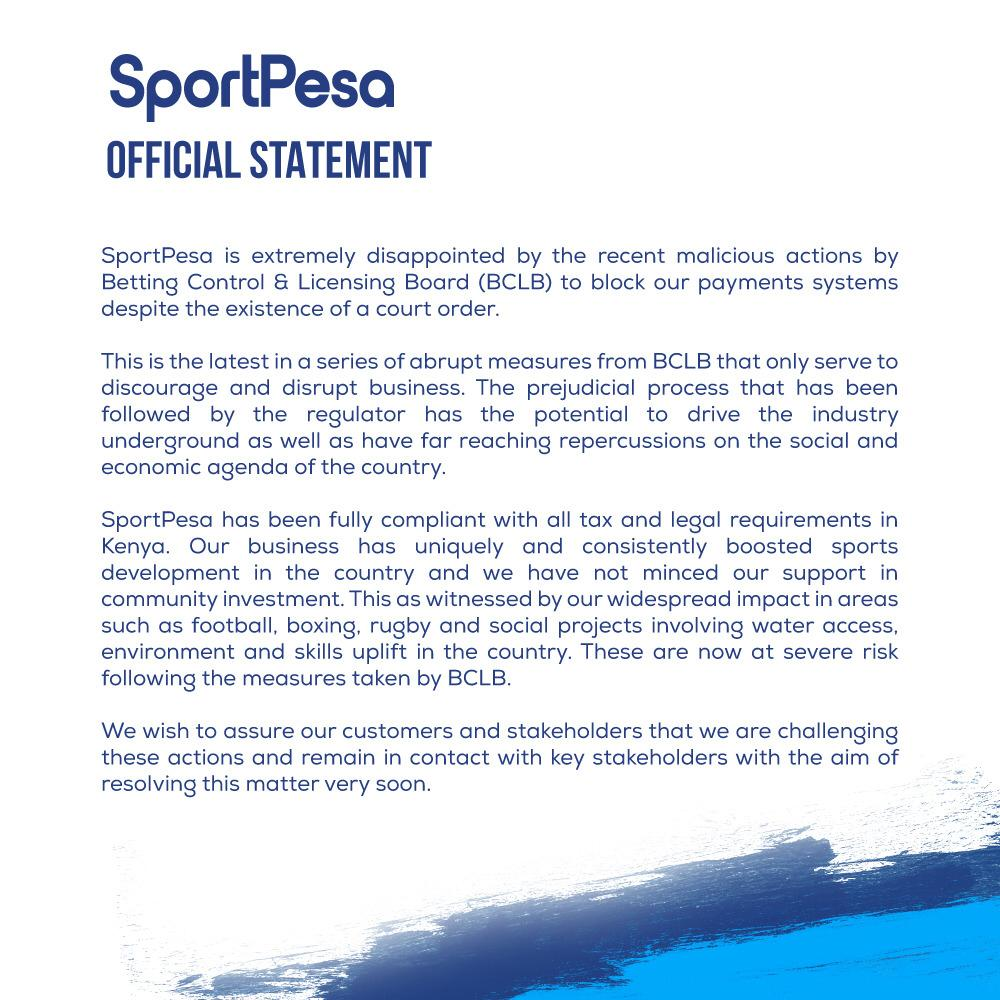 sports - End of the road for SportPesa as Safaricom suspends its Paybill number following government order-MATIANGI is not joking.