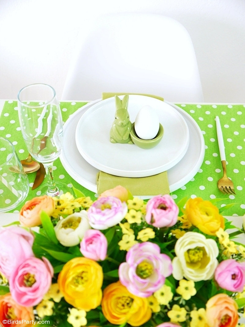 My Pastel Easter Brunch Tablescape - easy to style ideas, place-settings and floral decor for a spring party table or Easter celebration at home! by BirdsParty.com @birdsparty #easter #eastertabledecor #eastertablescape #springtablescape #pasteltablescape #pasteleaster #pasteltabledecor #tablesetting #easterpartyideas